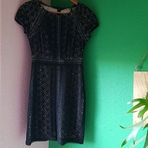 New BCBG Paris 0 Black Lace Illusion Sheath Dress